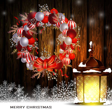 Christmas decoration wreath with street light standing and evergreen trees on wooden background greeting card Vector