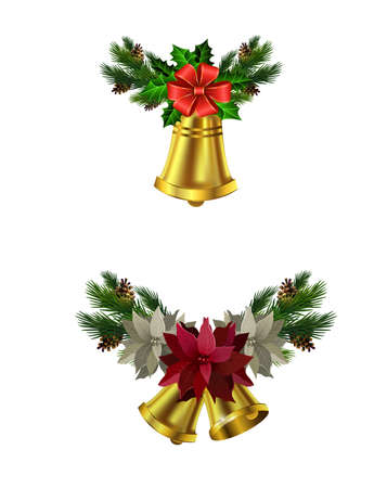 Christmas decoration set with evergreen treess pine cones and poinsettia isolated vector Çizim