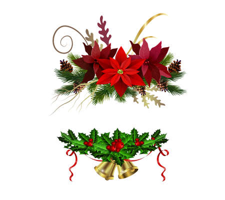 Christmas decoration set with evergreen treess pine cones and poinsettia isolated vector Illustration