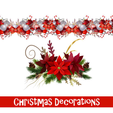 Vector seamless Christmas Border with Christmas decorations collection isolated on white Çizim