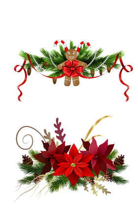 Christmas decoration set with poinsettia and gingerbread man isolated vector Illustration