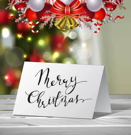 Christmas Greeting Card with nadwritten Merry Christmas letters Vector on blured Christmas tree background