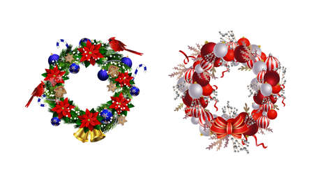 Set of Christmas wreaths and bow and bells isolated on white background with poinsettia Çizim