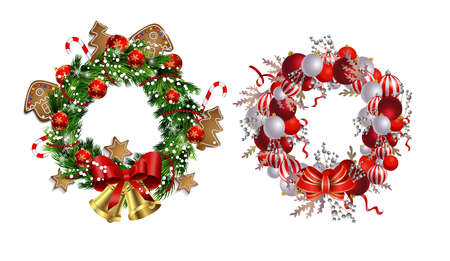 Set of Christmas wreaths and bow and bells isolated on white background with poinsettia Illustration