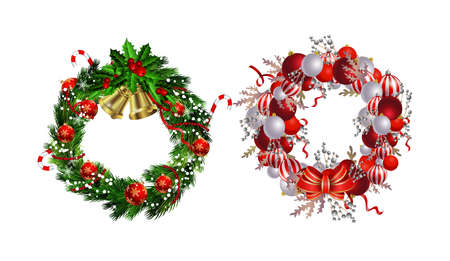 Set of Christmas wreaths and bow and bells isolated on white background with poinsettia Ilustração