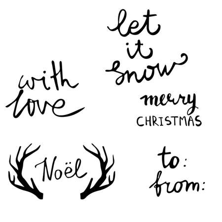 Set of Christmas lettering handwritten with bouncing letters vector illustration.