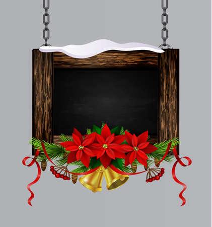 Vector wooden christmas board Banco de Imagens