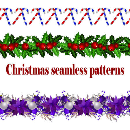 Christmas decoration collection with evergreen treess holly Vector seamless Ilustração
