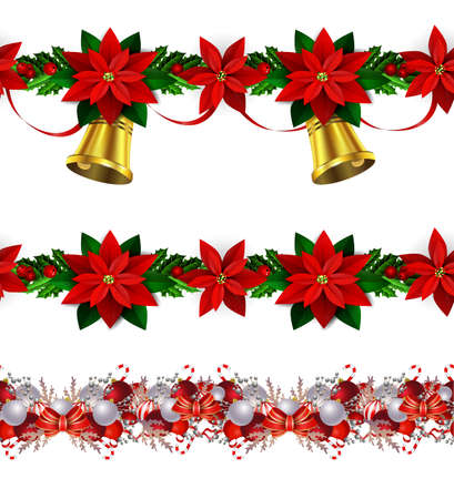 Christmas decoration collection with evergreen treess holly Vector seamless 向量圖像