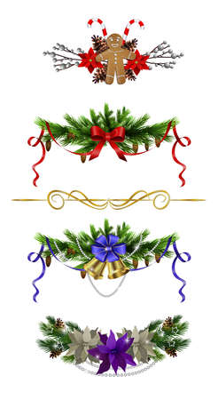 Christmas decoration set with poinsettia and gingerbread man isolated vector Ilustração