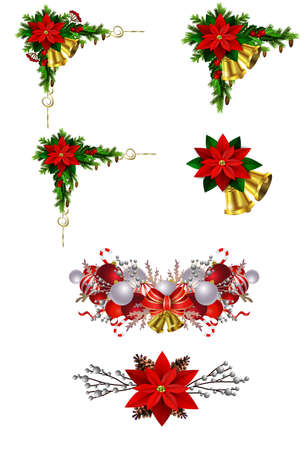 Christmas decoration set with evergreen treess pine cones and poinsettia isolated vector Illusztráció