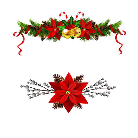 Christmas decoration set with evergreen treess pine cones and poinsettia isolated vector 일러스트