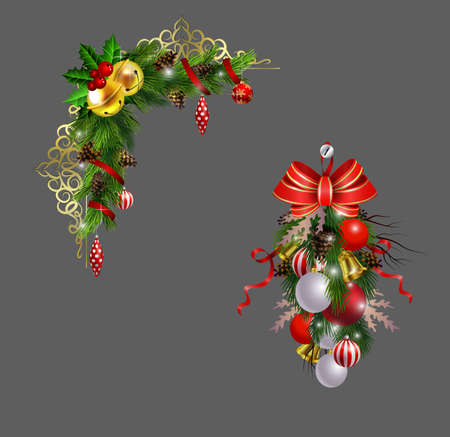 Christmas decoration corner set with evergreen treess pine cones and poinsettia isolated vector