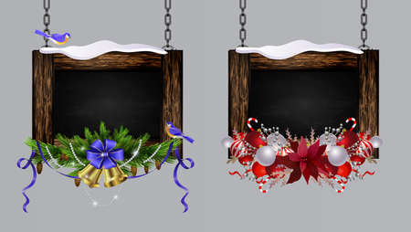 Vector realistic illustration of hanging wooden christmas board setset with christmas tree and decorations