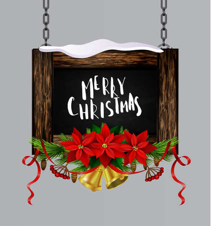 Vector realistic illustration of hanging wooden christmas board set with christmas greetings tree and decorations