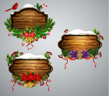 Vector realistic illustration of hanging wooden christmas board set with christmas tree bird and decorations Ilustração