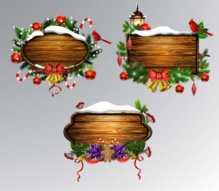 Vector realistic illustration of hanging wooden christmas board set with christmas tree gingerbread man and decorations 向量圖像