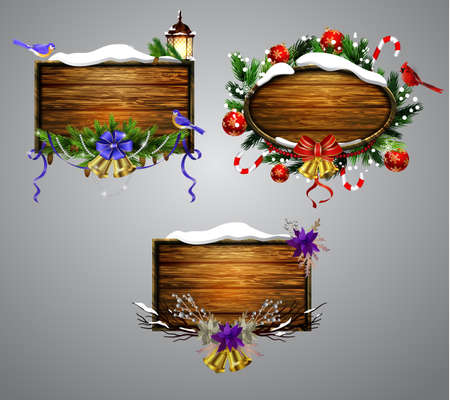Vector realistic illustration of hanging wooden christmas board set with christmas tree Cardinal bird and decorations
