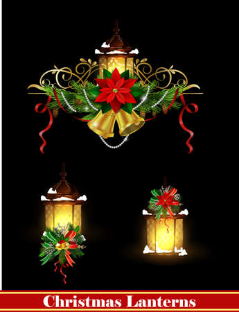 Christmas decoration set with street light and evergreen trees and golden bells vector