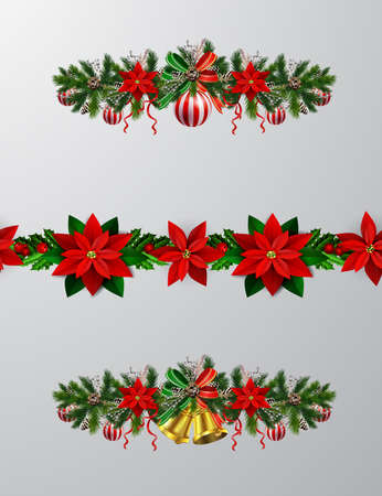 Christmas decoration with seanless border set vector isolated on background