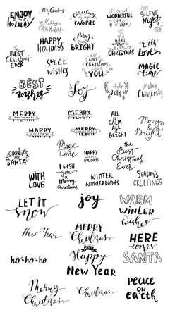 Set of Christmas lettering handwritten Stock Photo
