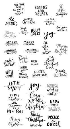 Set of Christmas lettering handwritten Ilustración de vector