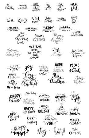 Satz von Weihnachtsbeschriftung handgeschrieben mit hüpfenden Buchstaben-Vektor-Illustration.
