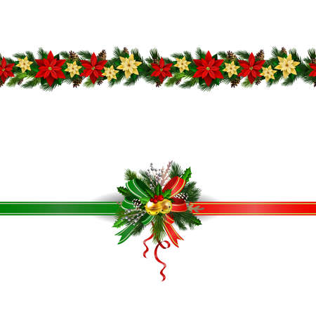 Christmas decoration collection with evergreen treess holly Vector seamless Illusztráció