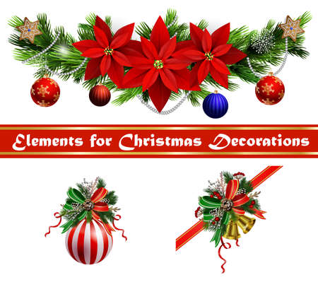 Christmas festive decoration set from christmas tree branches vector