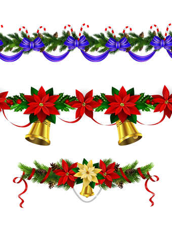 Christmas decoration collection with evergreen treess holly Vector seamless  イラスト・ベクター素材