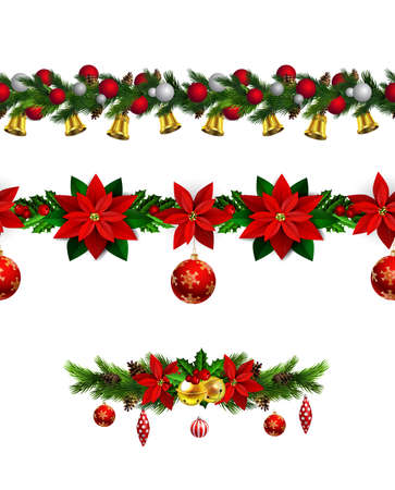 Christmas decoration collection with evergreen treess holly Vector seamless Illustration