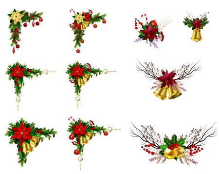 Christmas decoration set with evergreen treess pine cones and poinsettia isolated vector 向量圖像