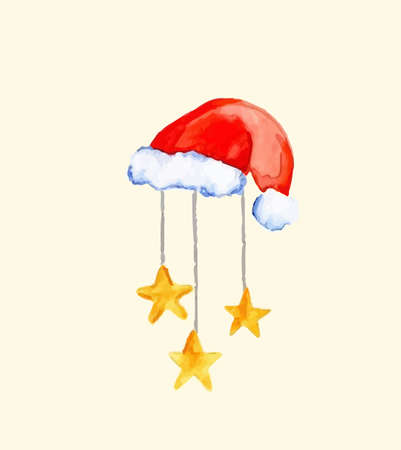 Santa Claus hat. Watercolor illustration. Vector isolated