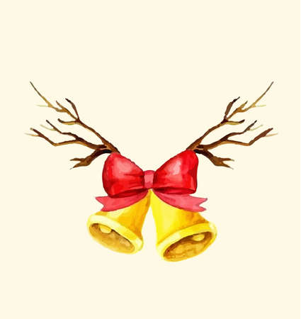 Christmas bells. Watercolor illustration. Vector isolated on white