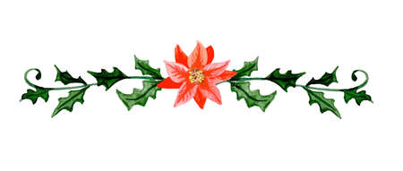 Christmas divider decorations Watercolor illustration. Vector isolated on white