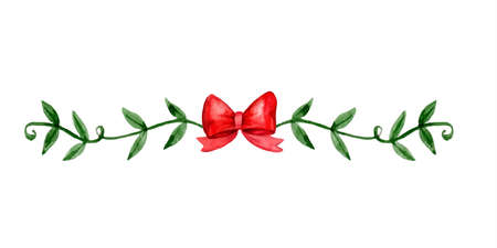 Christmas bow decorations Watercolor illustration. Vector isolated on white