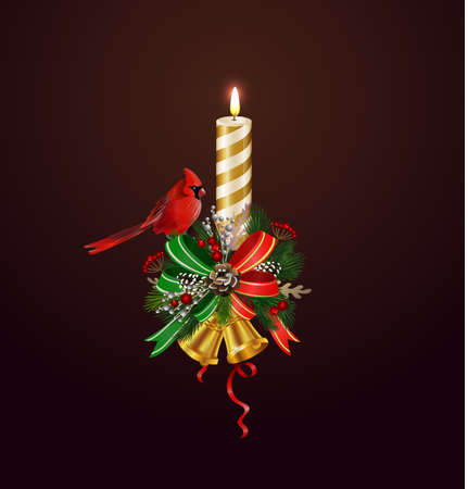Christmas candle combined width Christmas tree branches, and bows vector