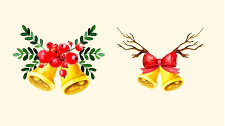 Christmas bells set. Watercolor illustration. Vector isolated on white
