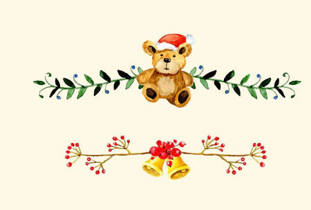 Christmas bells decorations set Watercolor illustration. Vector isolated on white Illustration