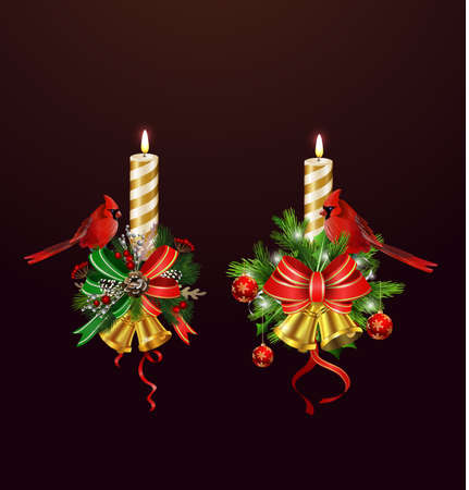 Christmas candle set combined width Christmas tree branches, and bows vector