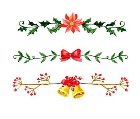 Christmas bells. Watercolor illustration