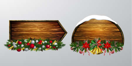 Vector realistic illustration of hanging wooden christmas board set with christmas tree bird and decorations Illustration