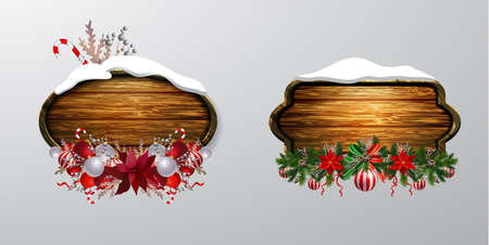 Vector wooden christmas board 스톡 콘텐츠