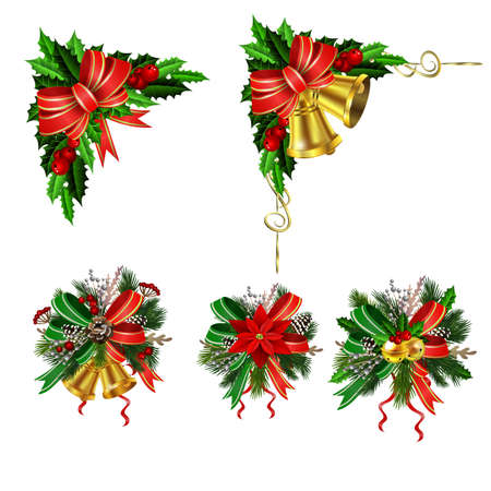 Christmas festive decoration from christmas tree branches vector
