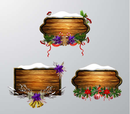 Vector realistic illustration of hanging wooden christmas board set with christmas tree bird and decorations 矢量图像
