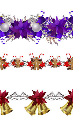 Christmas decoration collection with evergreen treess holly Vector seamless 矢量图像