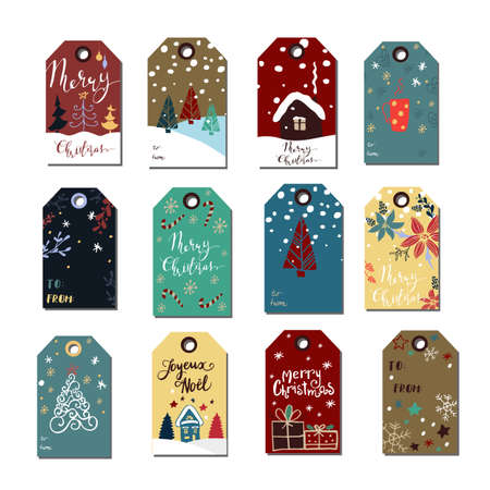 Christmas tags cute collection. Vector illustration background