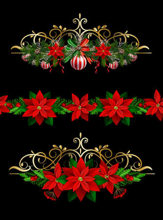 Christmas decoration set with evergreen treess pine cones and poinsettia seamless pattern isolated vector