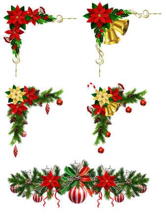 Zestaw świątecznych dekoracji z wiecznie zielonymi szyszkami sosnowymi i izolowanym wektorem poinsecji