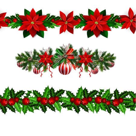 Zestaw świątecznych dekoracji z wiecznie zielonymi szyszkami sosnowymi i wektorem na białym tle wzór poinsecji